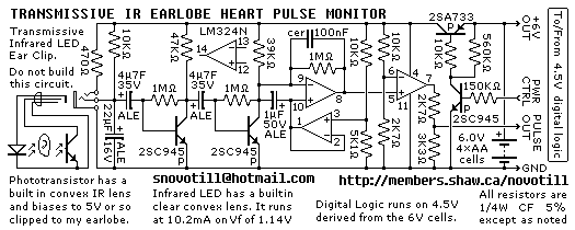 Infrared Heart Pulse Monitor - schematic