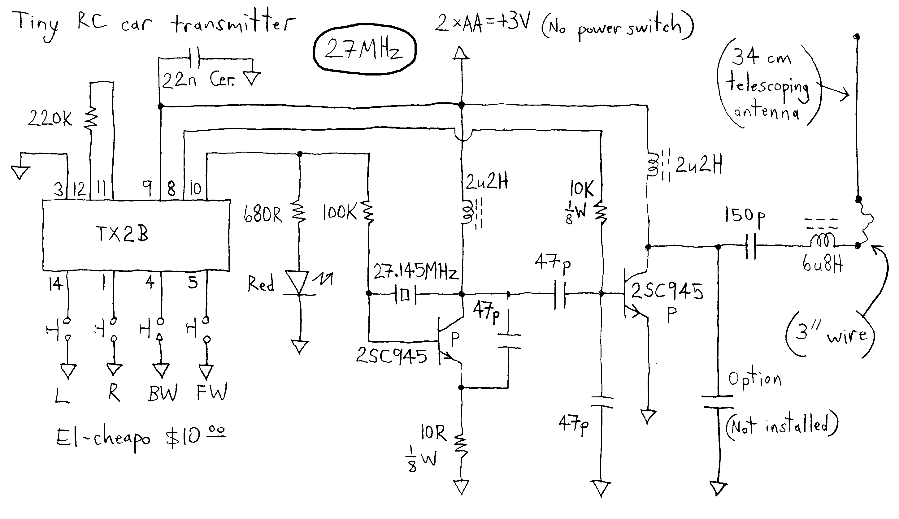 Tiny RC Cars - Transmitter and Charger - schematic