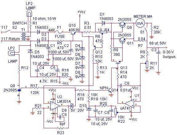 0-30 Volt Laboratory Power Supply - schematic