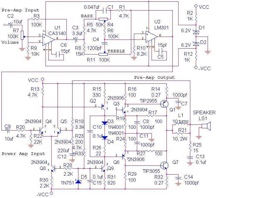 14 Watt Audio Amplifier - schematic