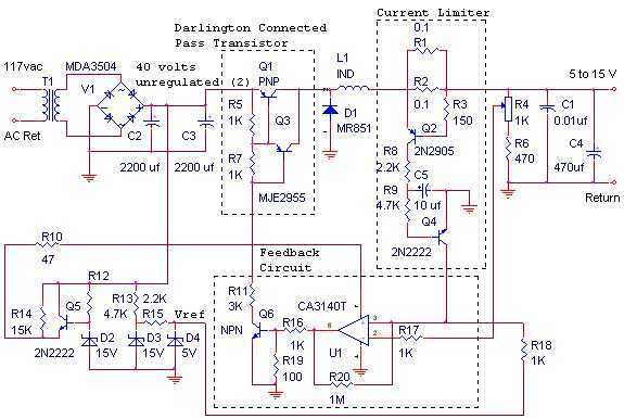 12 Volt, 10 Amp Switching Power Supply - schematic