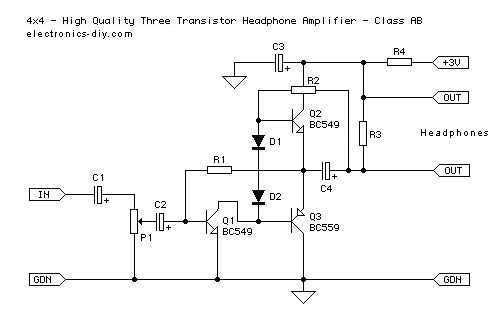 3 Transistor Headphone Amplifier - schematic