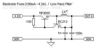 Electronic Fuse / Low Pass Filter - schematic