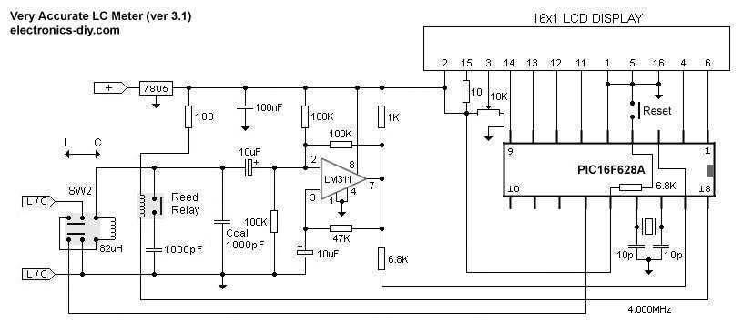 LC meter 16x1 LCD Display - schematic