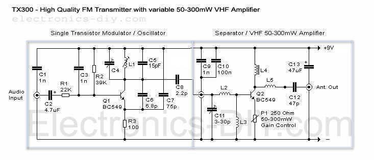 300mW FM Transmitter - schematic