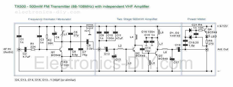 500mW FM transmitter - schematic
