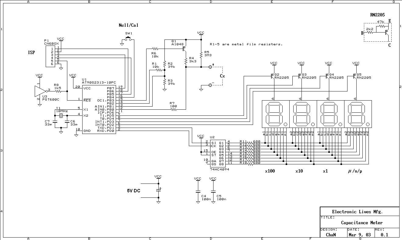 Digital Capacitance Meter - schematic