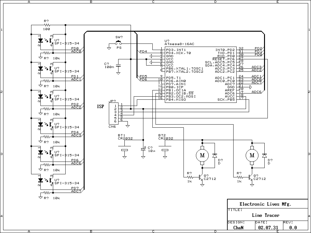 Desktop Line Following Robot - schematic