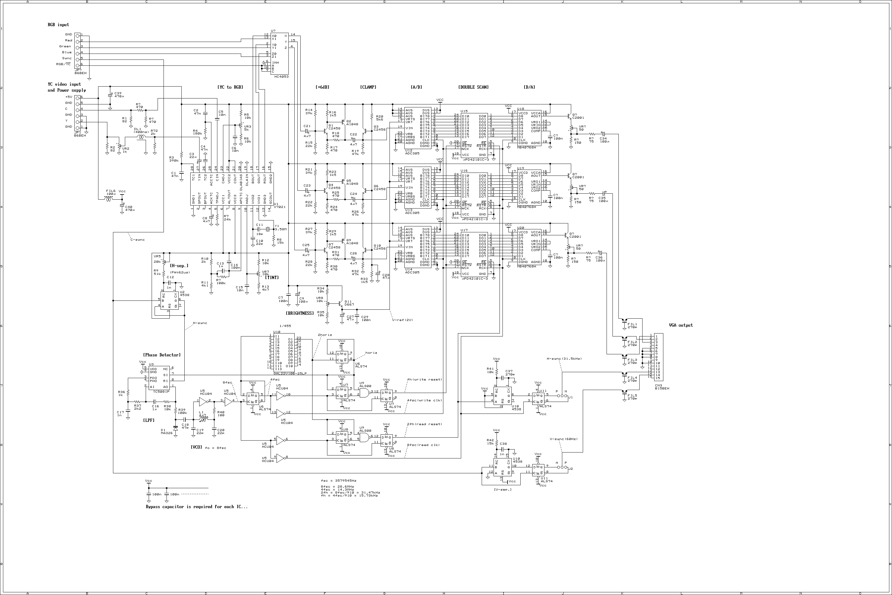 NTSC(YC/RGB) to VGA Scan Converter - schematic