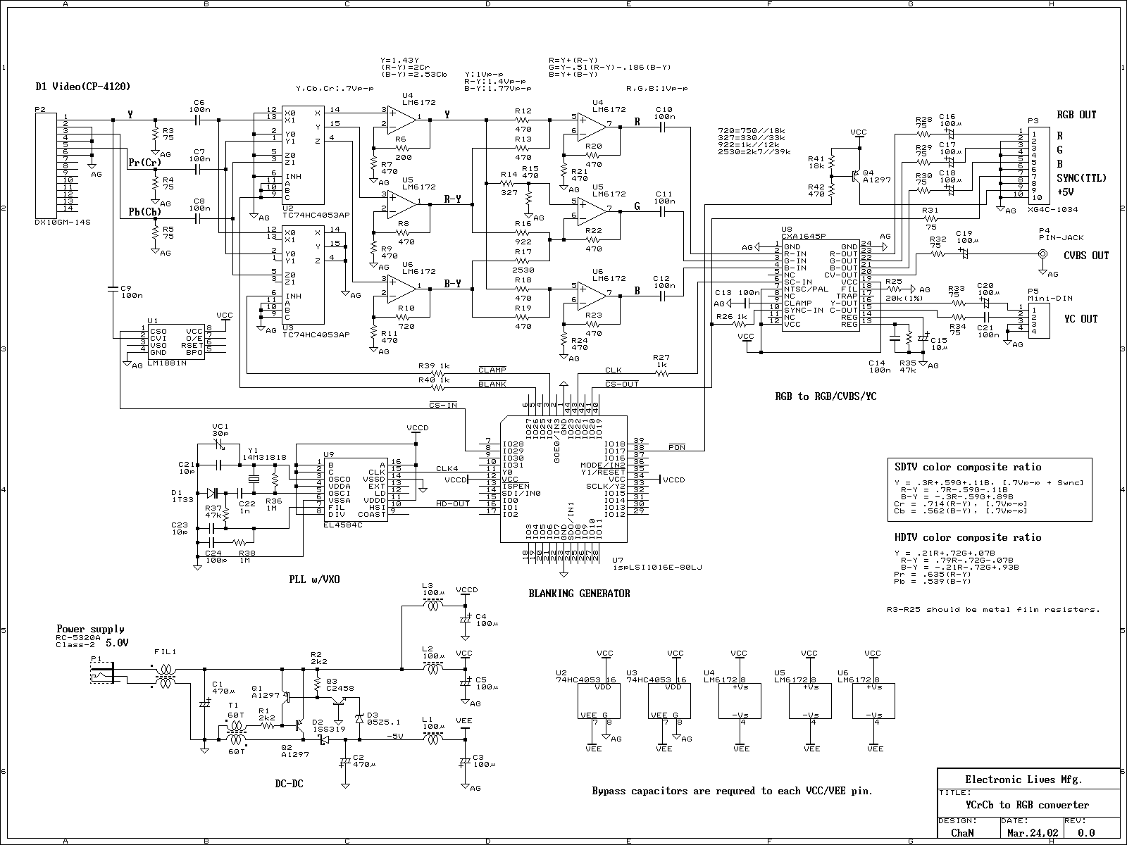 YUV(YCbCr) to RGB converter - schematic