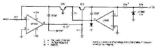 Simple logarithmic amplifier circuit