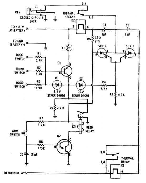 Auto-Arming Car Alarm circuit