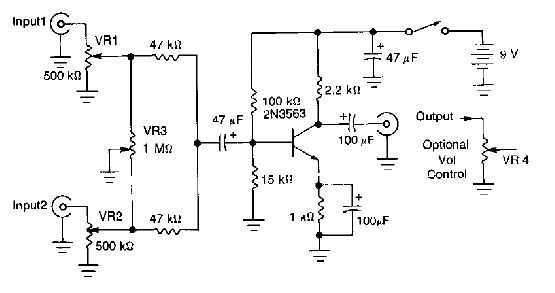 One transistor audio mixer (2N3563)
