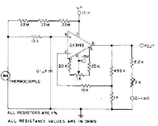 Thermocouple Amplifier circuit (CA3193)